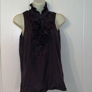 J. Crew black silk blouse with ruffled bodice/neck